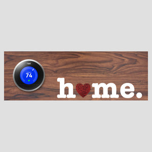Nest Thermostat Wooden Wall Plate - Home w/ Heart