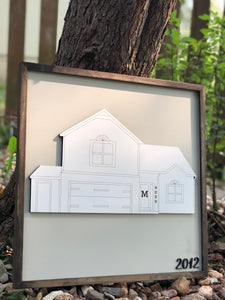 3D home drawing sign
