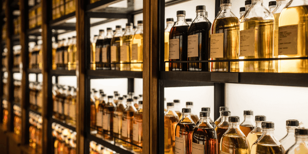 Shelves with bottles of good Scotch whisky