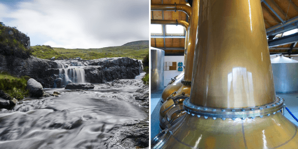 Water and copper pot stills used to make Arran whisky