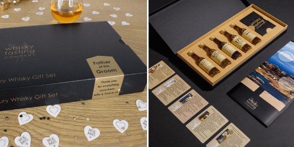 Examples of personalised whisky gifts available at Whisky Tasting Company