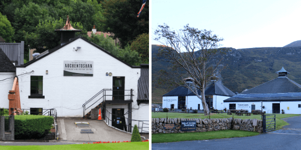 Two Scottish distilleries that feature in our whisky tasting sets