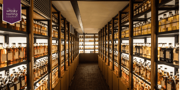 different types of whisky on shelves