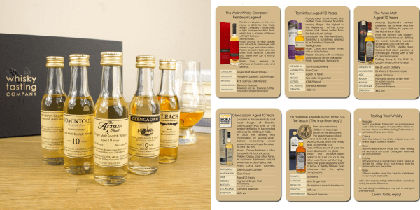 Whisky tasting set with a range of whisky flavours