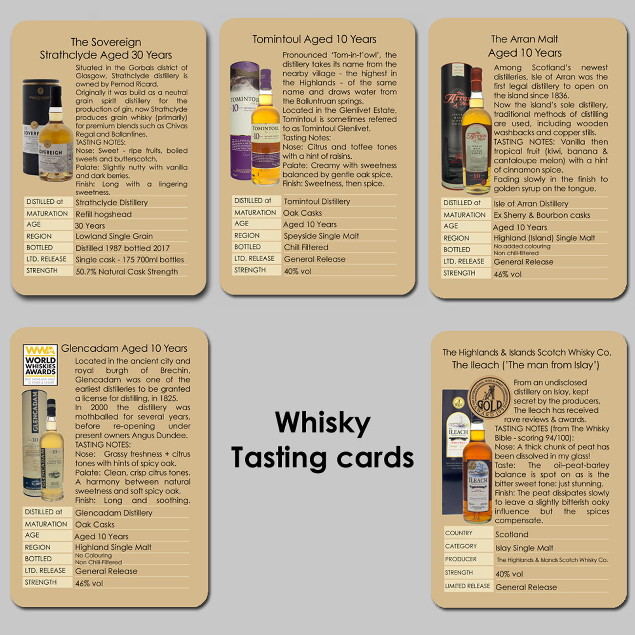 Individual tasting cards including 30 year old Scotch whisky.  Contains tasting notes and distillery information on Strathclyde aged 30 years, Tomintoul, Glencadam, Arran Malt and The Ileach Islay single malt.