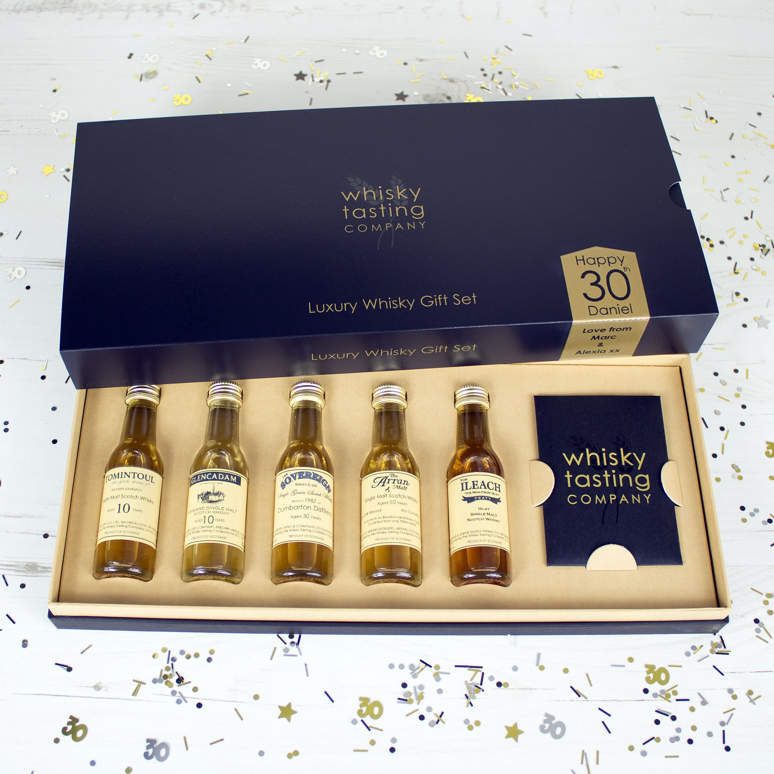 30 year old Scotch whisky and four single malt bottles whisky in personalised whisky gift set.  Personalised for 30th birthday.