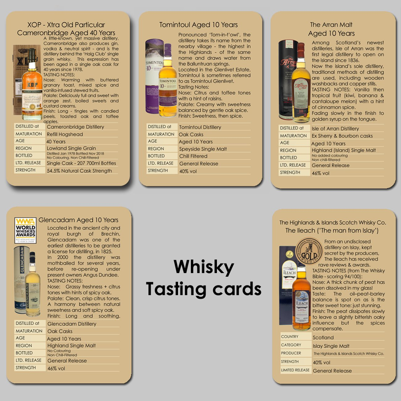 Individual tasting cards including 40 year old Scotch whisky.  Contains tasting notes and distillery information on Cameronbridge aged 40 years, Tomintoul, Glencadam, Arran Mal and The Ileach Islay single malt.