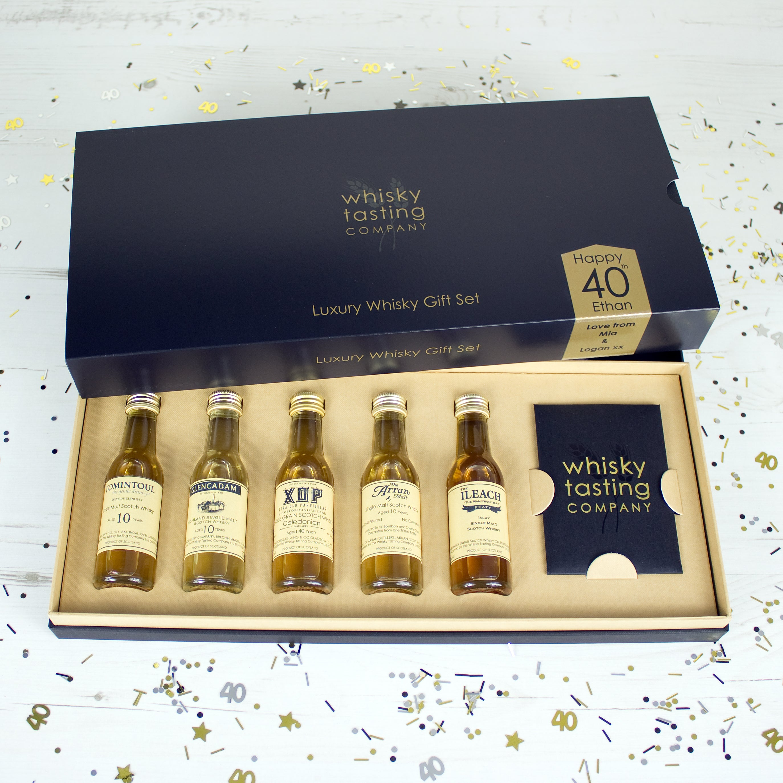 40 year old Cameronbridge Scotch whisky in gift set with Scottish single malts from Tomintoul, Glencadam, Arran and The Ileach single malts.