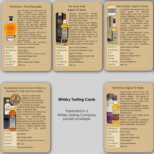 "Individual whisky tasting cards including ""Five Decades"" Tomintoul Glenlivet.  Contains tasting notes and distillery information on Five Decades, Tomintoul, Glencadam, Arran Malt and The Ileach Islay single malt."