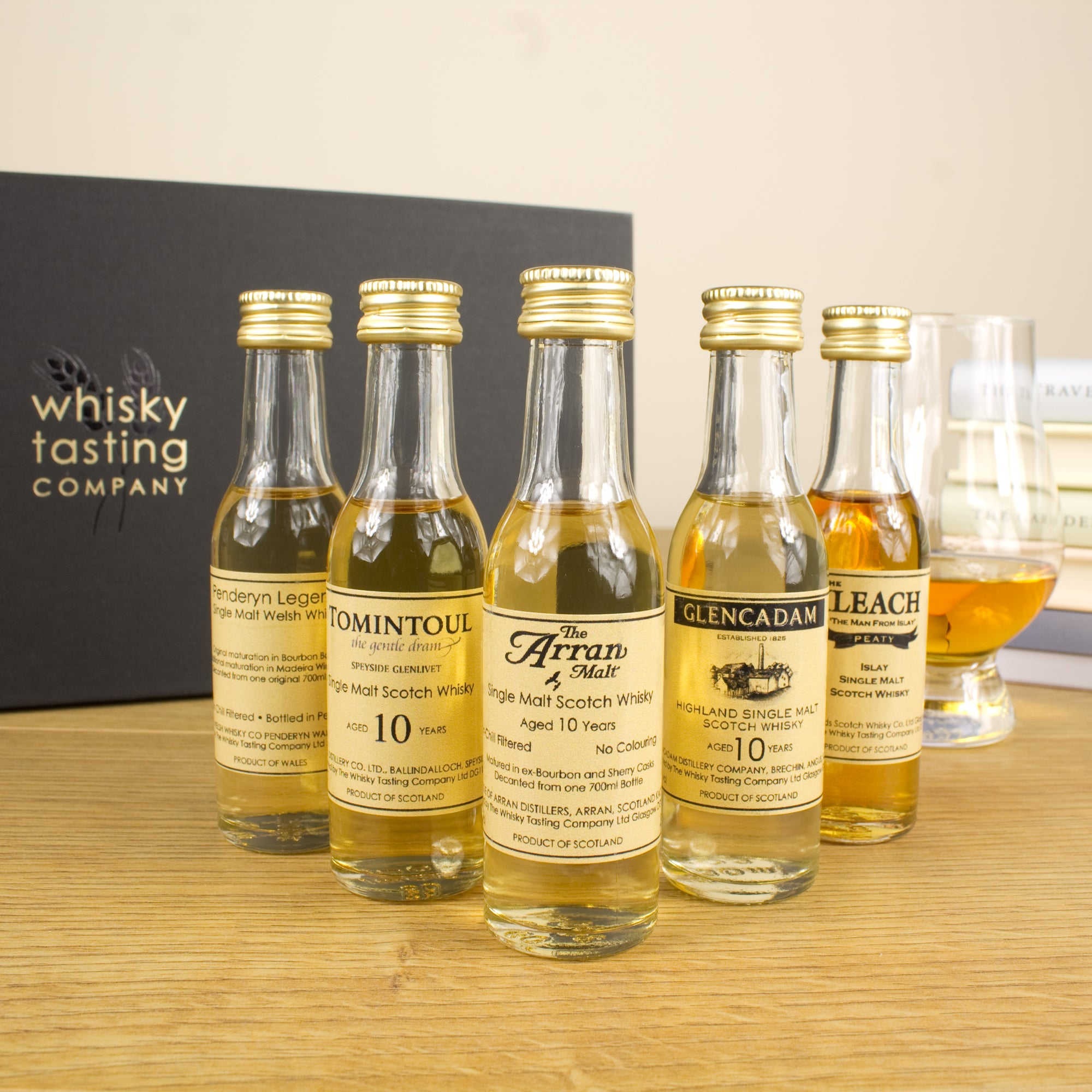 Single malt bottles and luxury whisky gift box