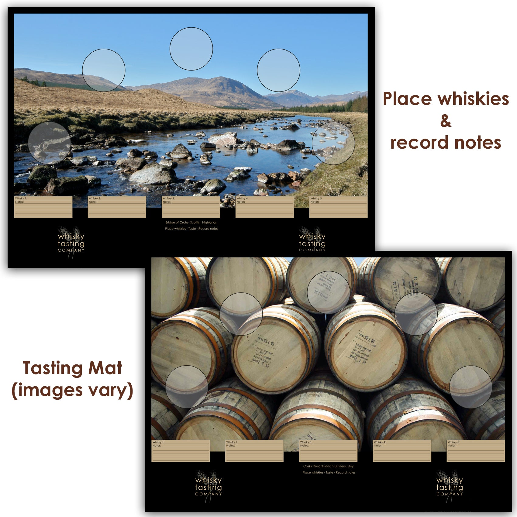 Whisky tasing mat inclued with whisky subscription boxes for tasting whisky and recording tasting notes.  Varying images of Scottish landscapes and distillery scenes.
