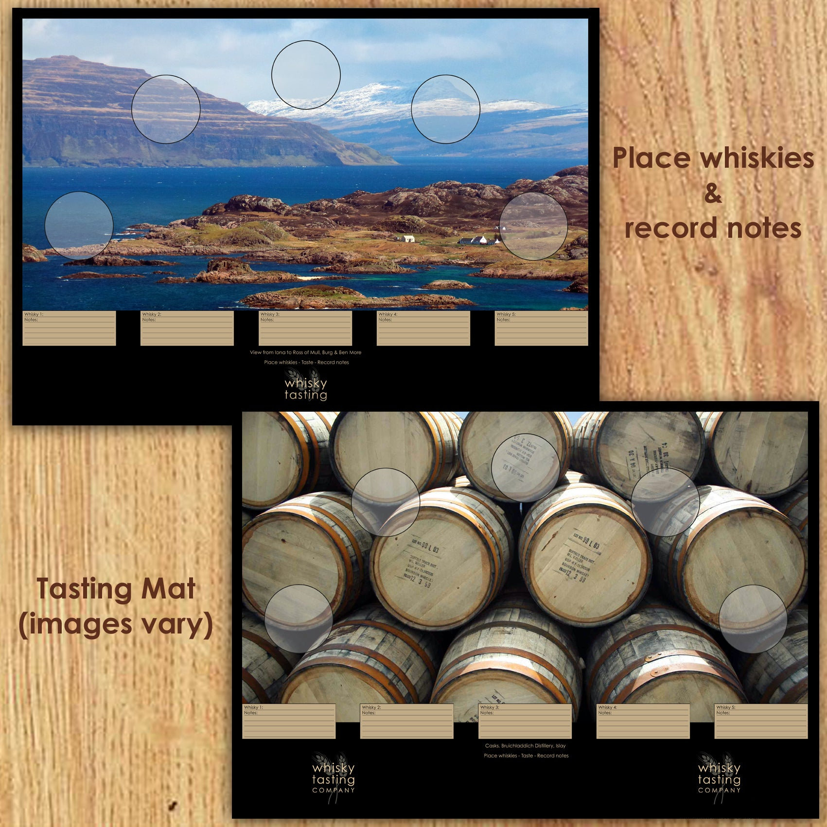 Whisky tasting mat for 5 bottle whisky gift set