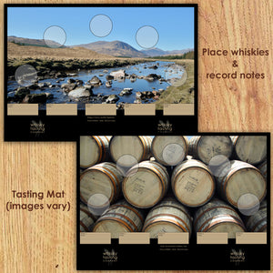 Whisky tasting mat showing Bridge of Orchy Scottish landscape and oak casks at Bruichladdich distillery.  Included in whisky gift set for tasting whiskies and recording personal notes.