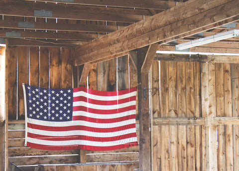 American Flag displayed in barn