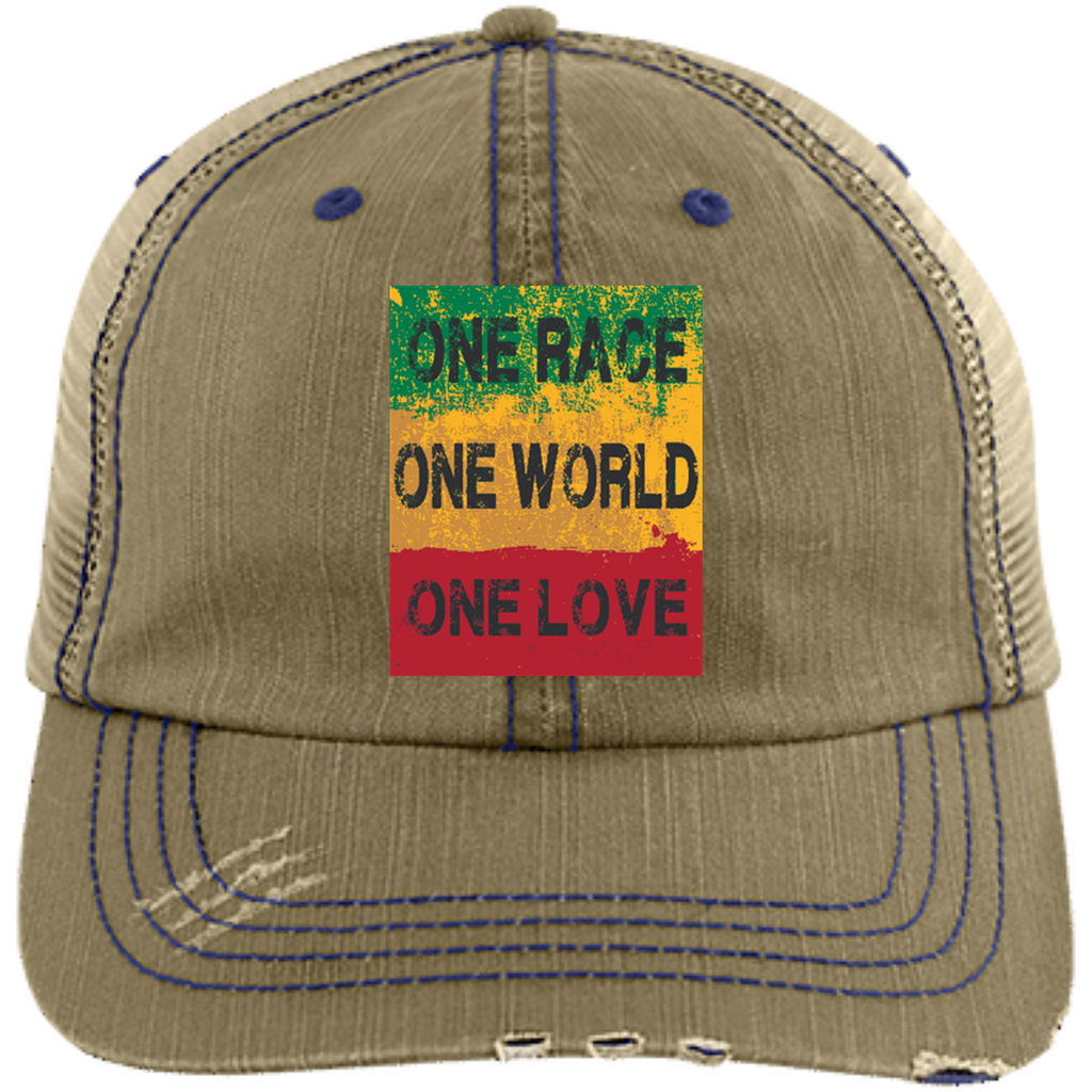 a83df7803 6990 One Race Distressed Unstructured Trucker Cap
