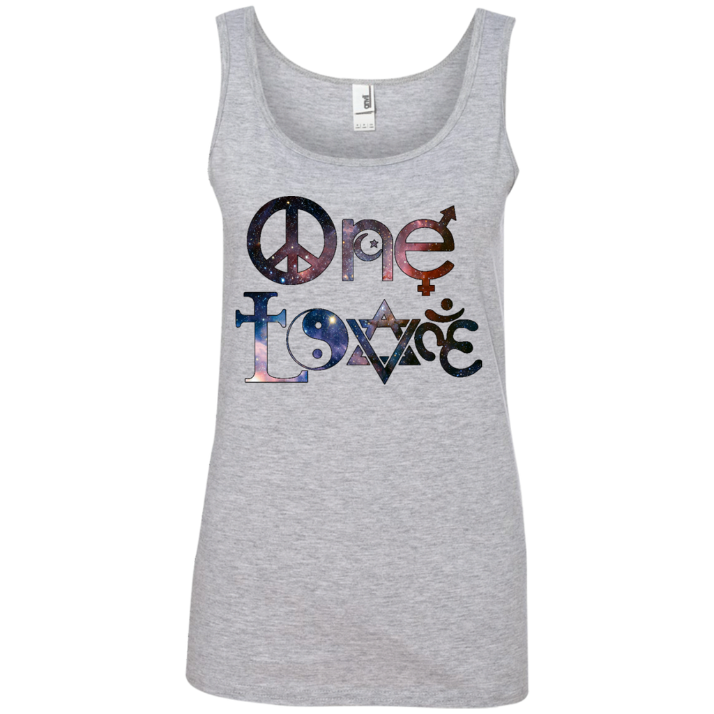 9aa7f622e8ca3 882L Anvil One Love Stars Ladies  100% Ringspun Cotton Tank Top ...
