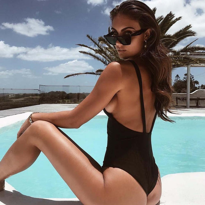 First Date - Plunging Front Backless One Piece - Soaked Swimwear