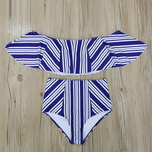 Serena - High Waist Ruffle Bikini - Soaked Swimwear