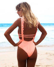 Helium - Ruffled Strap Monokini with Open Back - Soaked Swimwear