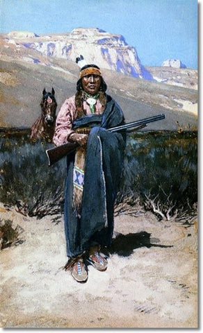 Western Native Painting Indian Brave