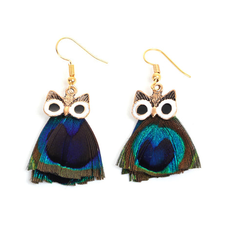 Owl Shaped Peacock Feather Earrings