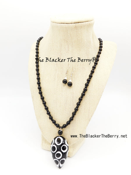 Black White Necklace Beaded Long Jewelry Set Women Earrings Bracelet