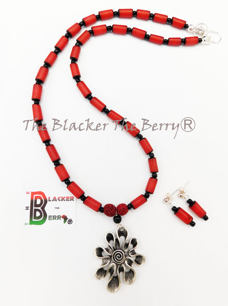 Silver Flower Necklace Ethnic Red Long Women Jewelry Set