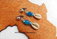 Cowrie Shell Beaded Clip On Blue Non Pierced Earrings