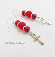 Ankh Earrings Red Beaded Jewelry Women Small