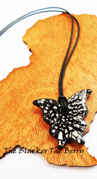 Butterfly Necklace Black Silver Glass Women Jewelry