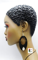 Wooden Earrings Oval Cowrie Jewelry Black The Blacker The Berry