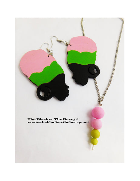 African Women Silhouette Earrings Necklace Pink Green