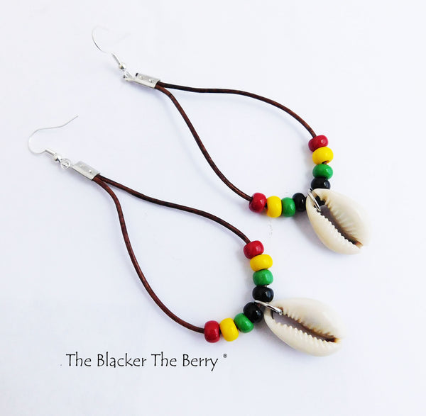 Rasta Earrings Leather Jewelry Beaded Women