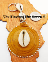 African Leather Handmade Cowrie Shell Keychain