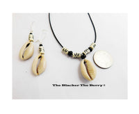 Cowrie Shell Necklace Black White Jewelry Set Earrings