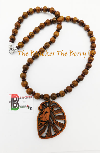 Lion Necklace Beaded Jewelry Wooden Ethnic