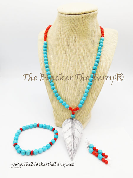 Arrowhead Necklace Silver Red Turquoise Jewelry Set Necklace Bracelets Earrings