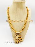 Lion Necklaces Beaded Jewelry Wood Cream Ethnic Men Women SALE