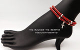 Anklet Jewelry Women Red Beaded Ethnic Ankh Handmade