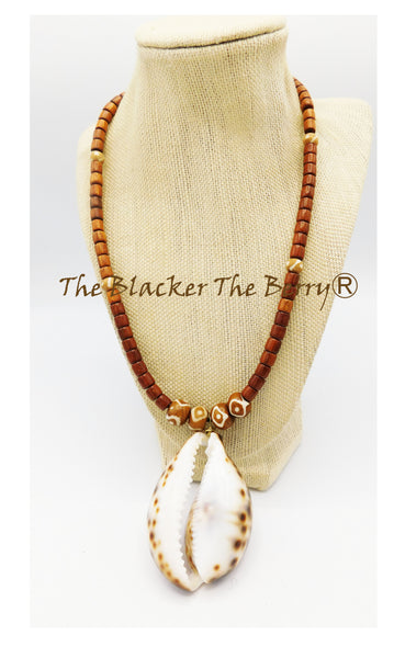 Large Cowrie Shell Necklace Ethnic Jewelry Beaded Women The Blacker The BerryⓇ