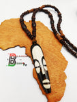 African Necklace Long Mask Pendant Beaded Jewelry