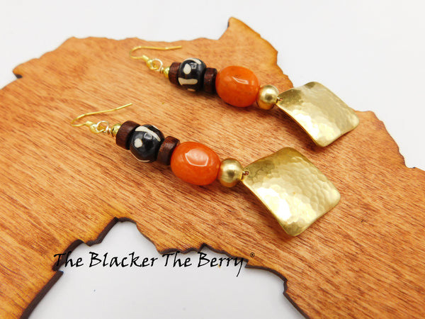 Women Earrings Gold Tone Orange Ethnic Jewelry The Blacker The Berry ®