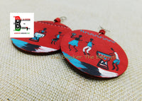 African Earrings Hand Painted Jewelry Red Turquoise White Handmade Wooden Jewelry