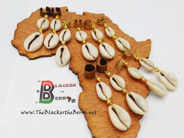 African Loc Jewelry Hair Accessories Cowrie Shells 10 Piece Set