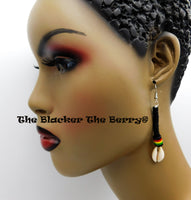 Cowrie Rasta Earrings Black Long Jewelry Beaded Black Owned Business