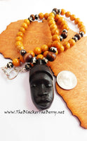 African Women Necklaces Hand Carved Face Jewelry