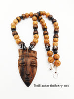 African Men Necklace Face Pendant Ebony Handmade Beaded Wooden Black Jewelry