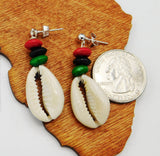 Cowrie Shell RBG Post Earrings African Jewelry