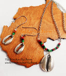Silver Cowrie Jewelry Set Necklace Earrings RBG The Blacker The Berry®