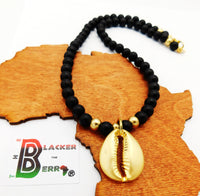 Gold Tone Cowrie Shell Black Beaded Necklace Jewelry